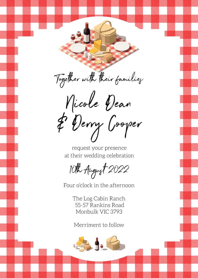 Picnic Party Wedding Invitations - wedding invitations