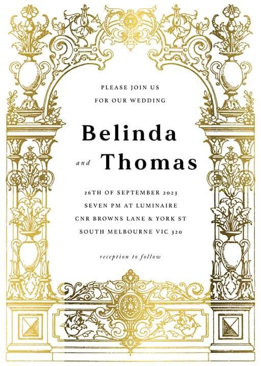 Revival Renaissance Wedding Invitations - wedding invitations