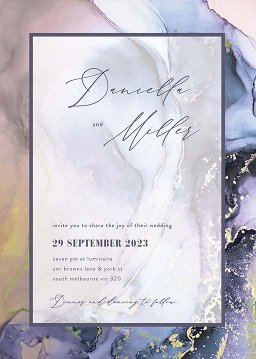 Colourful Marble Wedding Invitations - wedding invitations