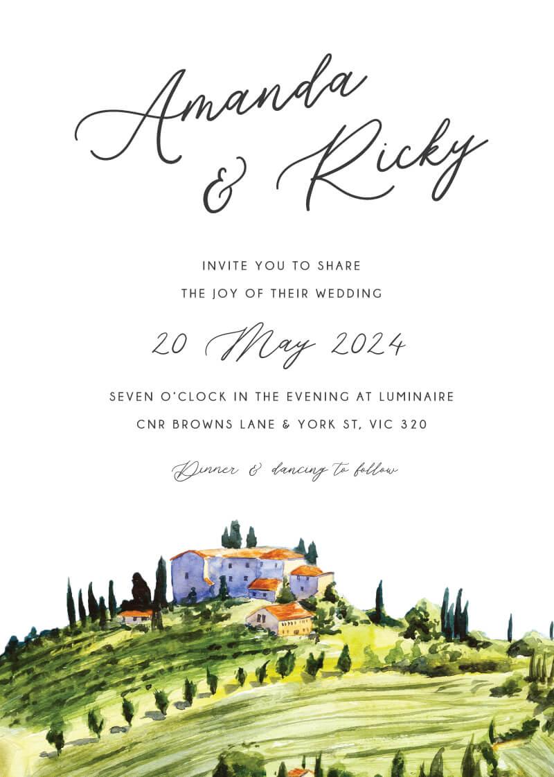 Tuscany Wedding Invitations - wedding invitations