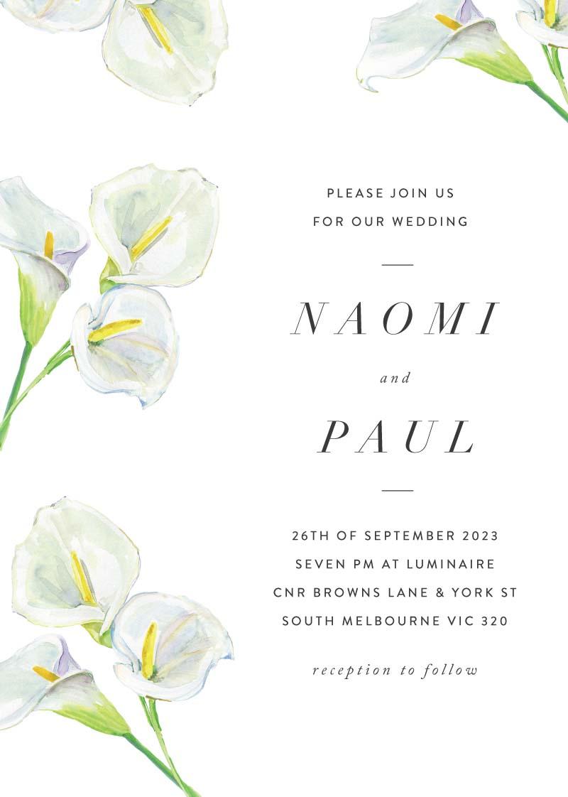 Calla Lilies Wedding Invitations - wedding invitations