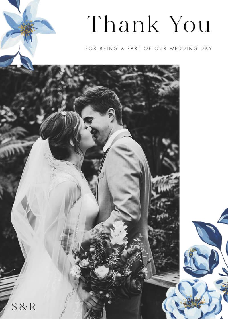 Blue Acrylic Floral Thank You - Wedding Thank You Cards