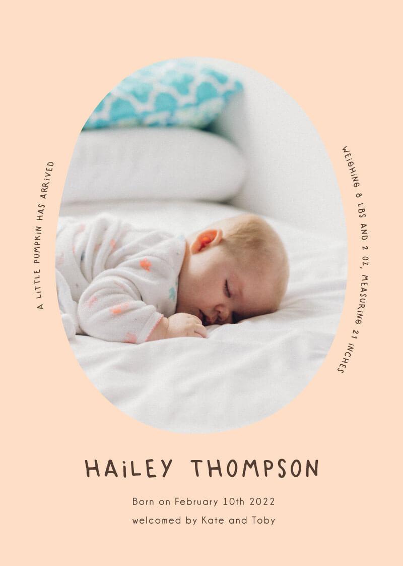 Little Pumpkin Baby Announcement - baby announcements