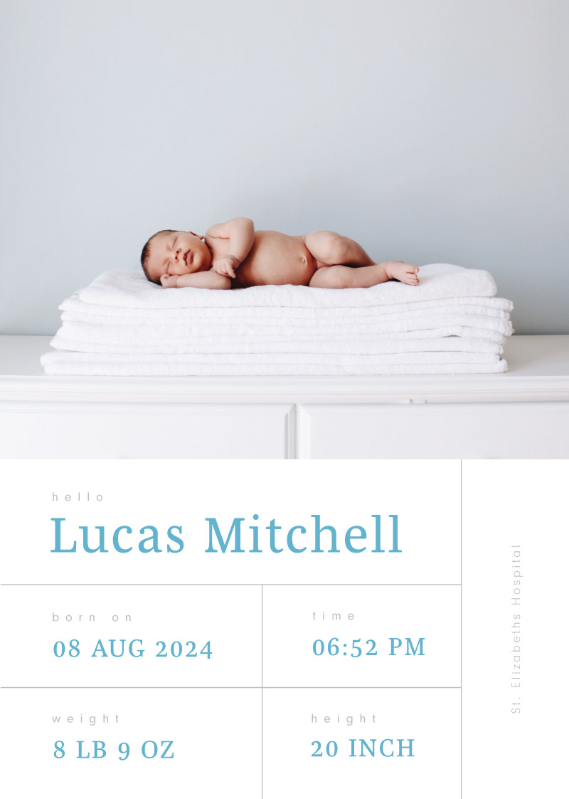 Baby Pink & Baby Blue Baby Announcement - baby announcements