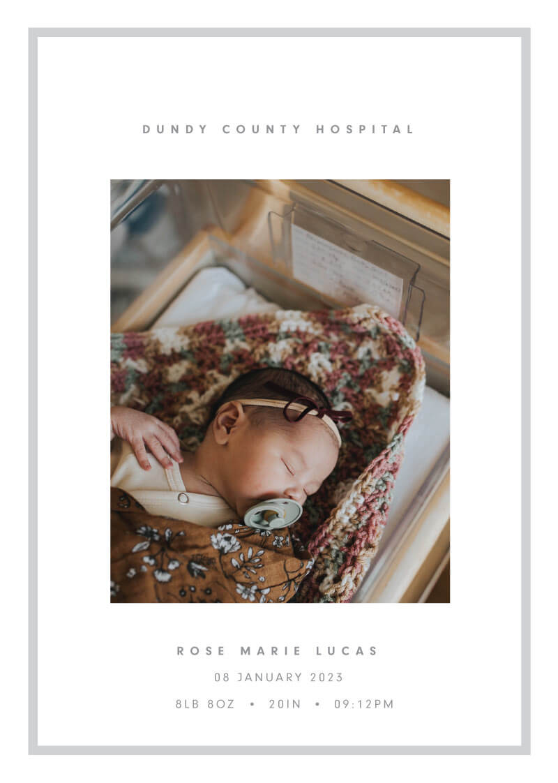 Light Gray Border Baby Announcement - baby announcements