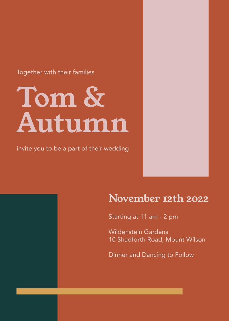 Warm Autumn Wedding Invitations - wedding invitations