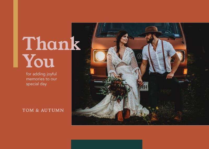 Warm Autumn Thank You - Wedding Thank You Cards
