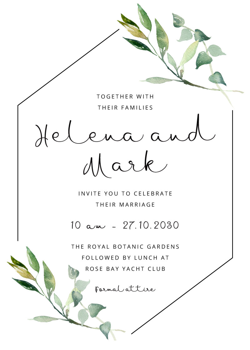 Greenery Wedding Invitations Boho Foliage Invitation Suite Simple Wedding Stationery Suite Elegant Garden Wedding Front and Back RSVPs