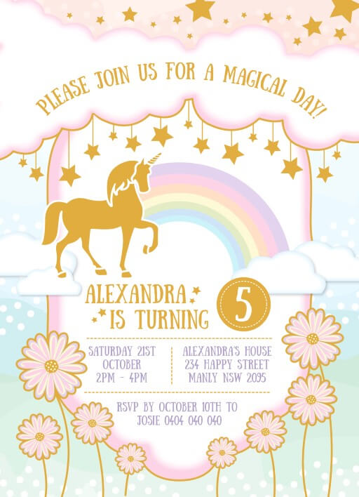 5th birthday invitations customize