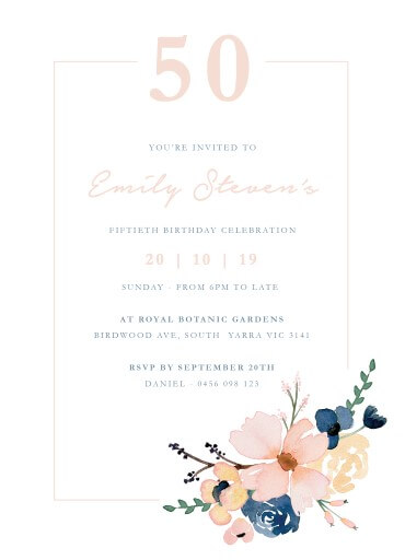 Blue /& Pink Watercolour Flowers 80th Birthday Party Invitations