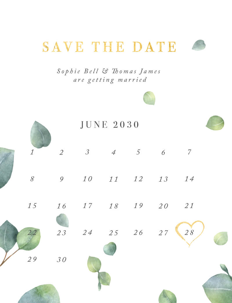 Eucalyptus Save The Date - Save The Date