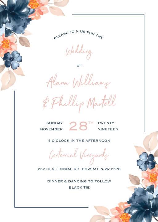 Digital Wedding Invitation floral watercolour wedding invitation design.