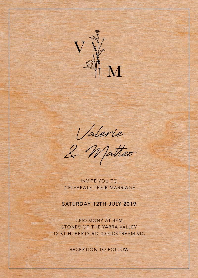 Print On Wood Wedding Invitations