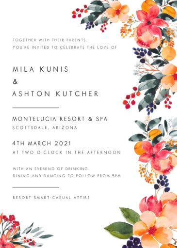 Floral Crown Georgia Wedding Invitations - wedding invitations