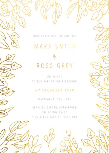 Gold Foil Frame Wedding Invitations - wedding invitations