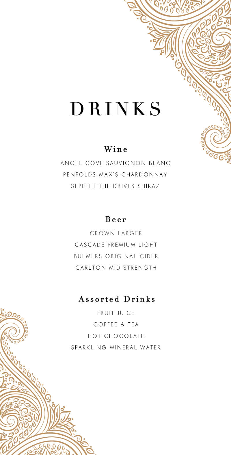 Amla - Wedding Menu