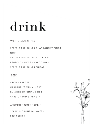Delilah - Wedding Menu