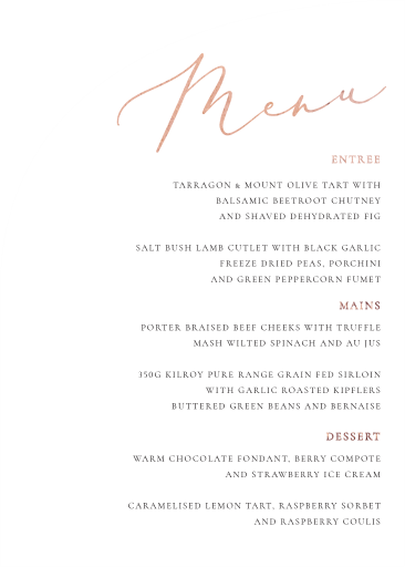 Rose et Gris - Wedding Menu