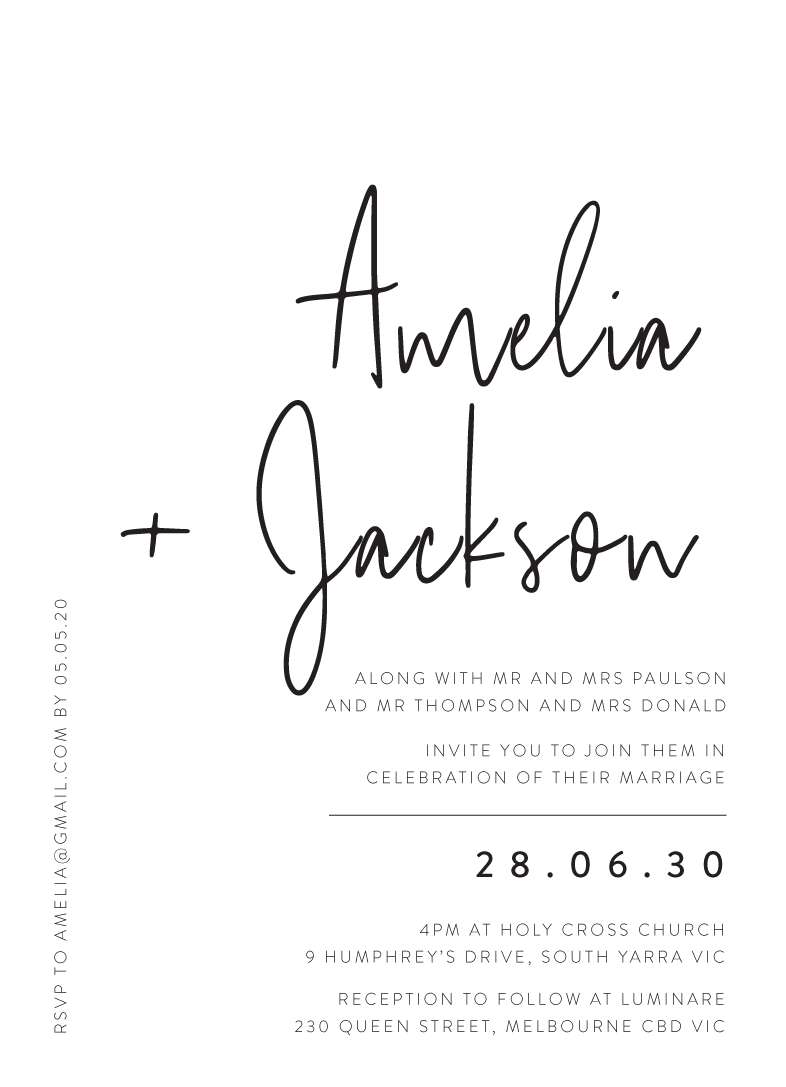 Black And White Wedding Invitations | Customize And Print Online With  Paperlust